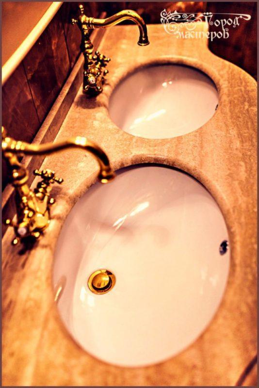 Столешница в ванную из травертина (Travertine Classic Beige, Турция)